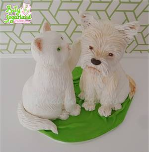 Cat and dog cake - Cake by Bety'Sugarland by Elisabete Caseiro