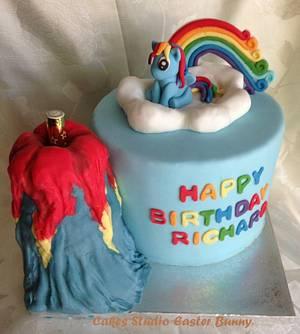 Rainbow pony and Volcano - Cake by Irina Vakhromkina