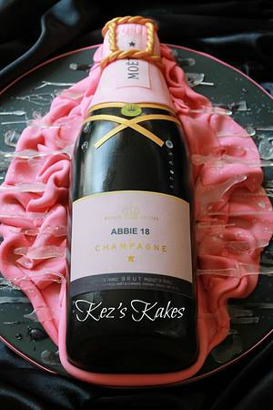 Moet and Chandon Pink Champagne Bottle - Cake by Kerry Rowe
