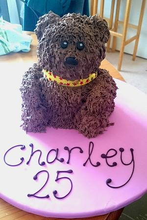 Scruffy teddy bear cake  - Cake by Tracey