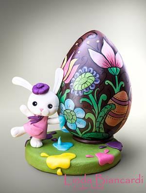 La coniglietta pasquale e il suo grande uovo! - Cake by Linda Biancardi