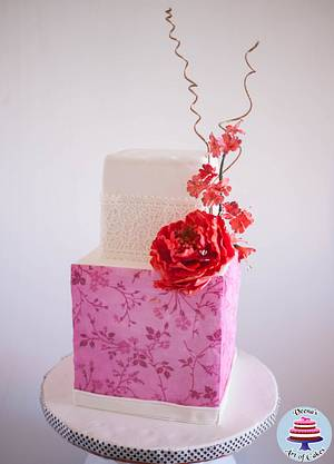 Pink Cherry Blossoms Cake  - Cake by Veenas Art of Cakes