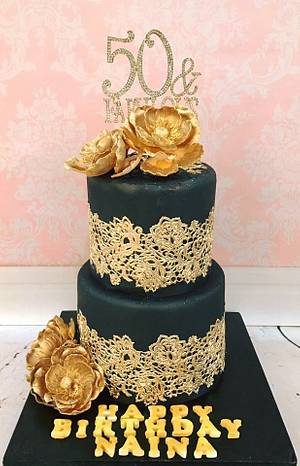 Gold Lace  - Cake by Tiers of joy