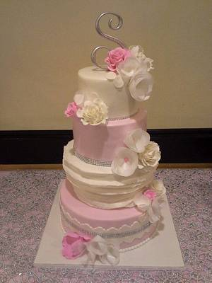 Pink wafer paper flowers  cake - Cake by Dolcetto Cakes