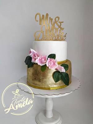 Gold rose Wedding cake - Cake by Torte Amela