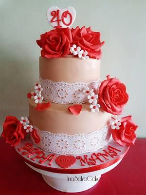 40th Wedding Anniversary Cake - Cake by Tina Salvo Cakes