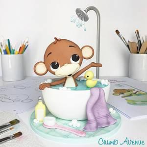 Monkey in a Bubble Bath Cake Topper - Cake by Crumb Avenue