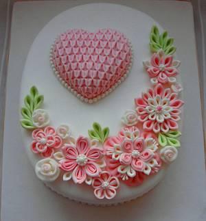 Ribbon flowers cake  - Cake by Zohreh