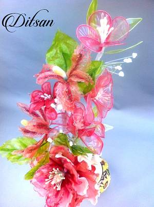 A composition of gelatin flowers - Cake by Ditsan