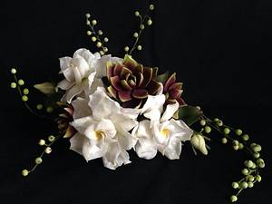 Gardenias & Succulents - Cake by SimplyScrumptious