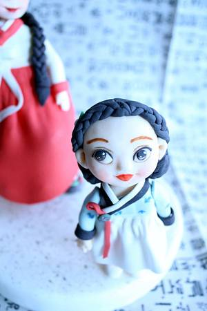 a woman and a girl wearing hanbok - Cake by fantasticake by mihyun