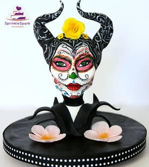 Maleficent Sugar Skull Bakers - Cake by SprinkleSpark