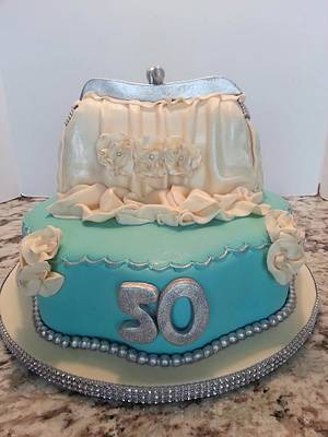 EVENING BAG...TURQUOISE AND SILVER - Cake by Enza - Sweet-E