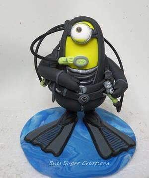 Scuba Diver minion - Cake by Sue Harkin