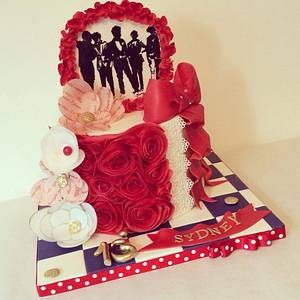 One Direction birthday with wafer flowers and handpainted silhouette - Cake by Dee