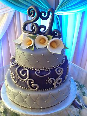 Purple and Silver cake =) - Cake by Emsspecialtydesserts