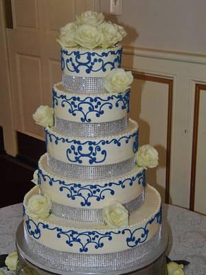 Navy & Silver wedding cake Buttercream - Cake by Nancys Fancys Cakes & Catering (Nancy Goolsby)