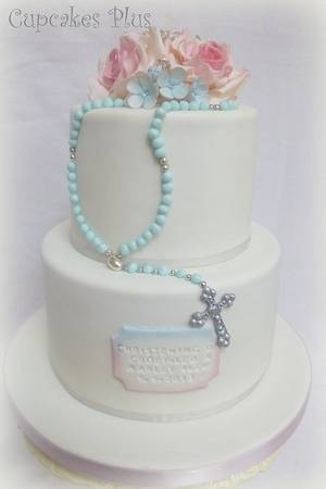 Pink and blue Christening Cake - Cake by Janice Baybutt