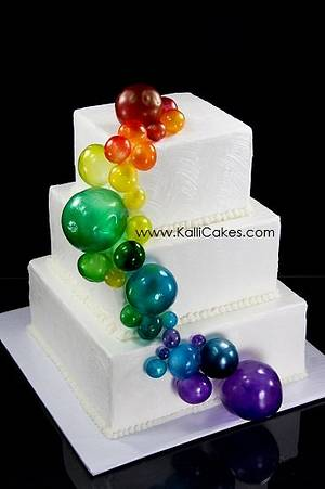 Spring Showers bring Rainbow Bubbles! - Cake by Andrea