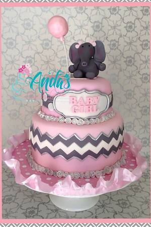 Pink & Gray Chevron and Elephants Baby Shower! - Cake by Anda Nematalla