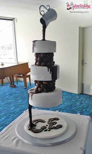 3 Tier Chocolate Waterfall Wedding Cake - Cake by Serdar Yener   Yeners Way - Cake Art Tutorials