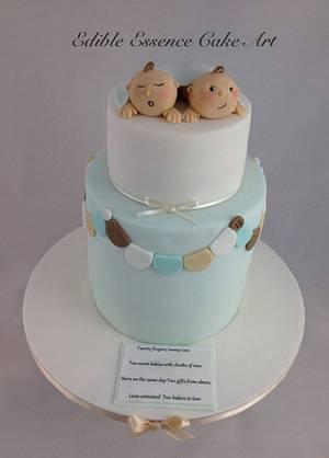 Twin boys baby shower - Cake by Edible Essence Cake Art