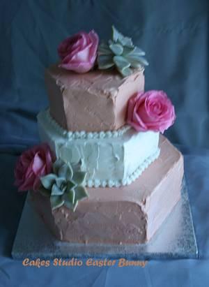 Roses and succulent wedding cake - Cake by Irina Vakhromkina