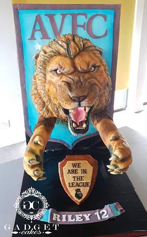 Aston Villa 3D lion Cake AVFC  - Cake by Gadget Cakes