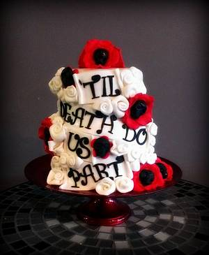 'til death do us part roller derby wedding cake - Cake by cheeky monkey cakes