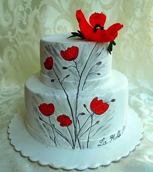 Poppies painting - Cake by Torturi de poveste