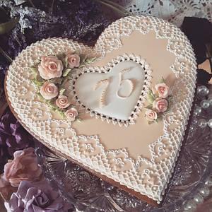 75th ANNIVERSARY KEEPSAKE heart - Cake by Teri Pringle Wood