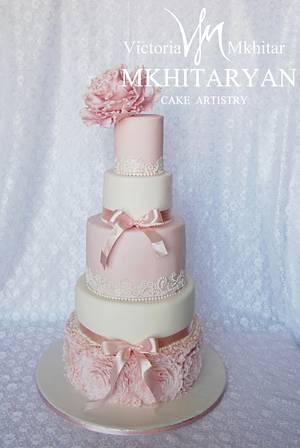 Pink peony  wedding cake&cupcakes - Cake by Art Cakes Prague