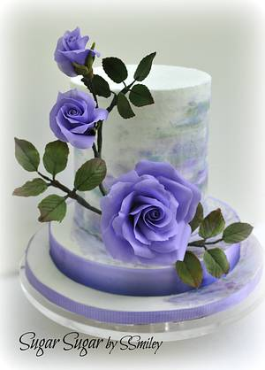 Water Color & Roses - Cake by Sandra Smiley