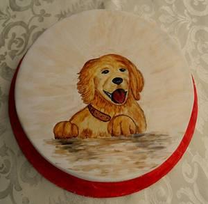 Dog painting - Cake by Torturi de poveste