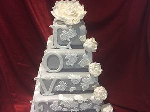 Grey and white lace wedding cake with peonies - Cake by carefreecakes