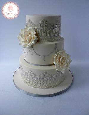 Ivory and Silver wedding cake - Cake by Cakes by Verity