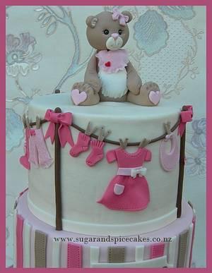 Candy Stripes Teddy Cake for Mika ~ - Cake by Mel_SugarandSpiceCakes