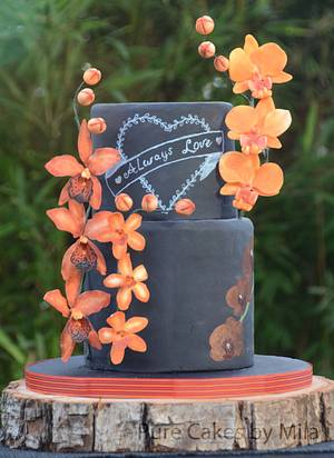 """""""Orange Orchids"""" Wedding cake - Cake by Mila - Pure Cakes by Mila"""