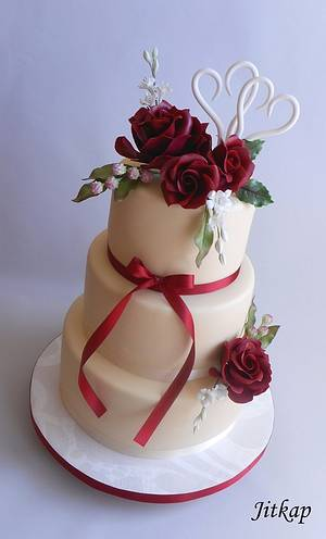 Wedding cake with roses - Cake by Jitkap