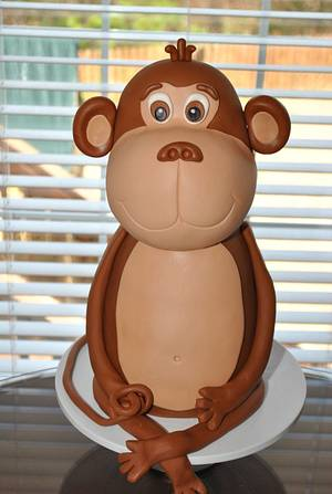 3D Sculpted Monkey - Cake by Hope Crocker