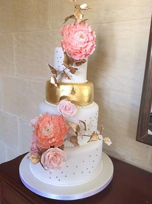Gold leaf and peonies wedding cake - Cake by ritaknowles