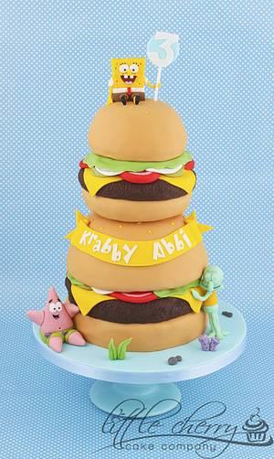 Krabby Patty Tower Spongebob Cake - Cake by Little Cherry