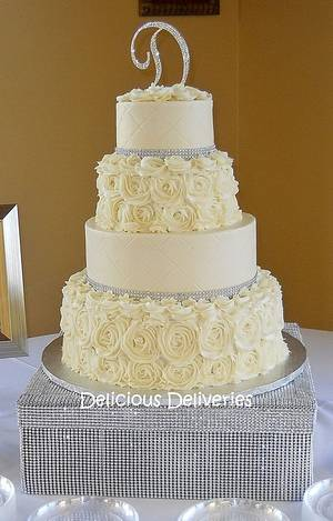 Buttercream Rosette Wedding Cake - Cake by DeliciousDeliveries