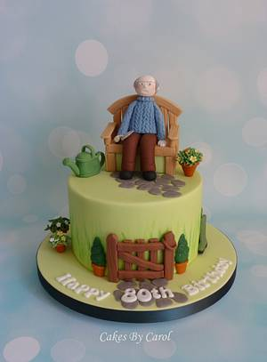 80th Garden theme - Cake by Carol