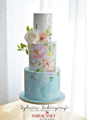 Hand painted Wedding Cake - Cake by Sylwia Sobiegraj The Cake Designer