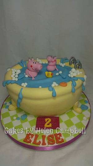 peppa pig bath time - Cake by Helen Campbell