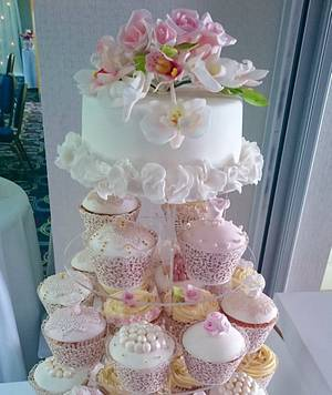 Rose and Orchid Cupcake Wedding Cake - Cake by Serendipity Cake Company