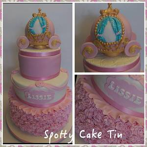 princess carriage and ruffles - Cake by Shell at Spotty Cake Tin
