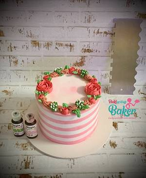 Floral wreath whipped cream cake  - Cake by Pinkle