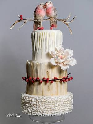 Wedding cake with birds - Cake by MOLI Cakes
